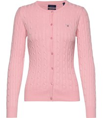stretch cotton cable crew cardigan gebreide trui cardigan roze gant