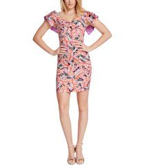 guess clara printed ruffled dress