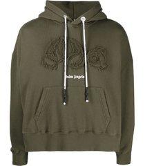 distressed bear motif hoodie, military green