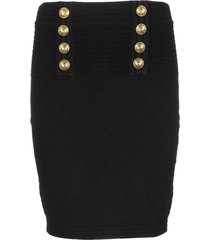 balmain diamont noir skirt with gold buttons