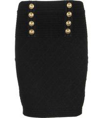 balmain diamont noir skirt with gold buttons