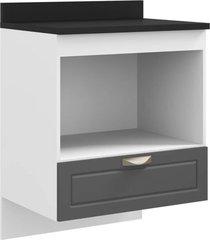 balcão multimóveis nevada 70cm para cooktop, forno e microondas suspenso grafite ref.5607s.971tp