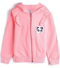 jaqueta de moletom zig zig zaa menina bordada rosa - rosa - menina - algodã£o - dafiti