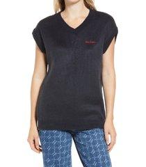 iets frans women's fluffy knit vest, size medium in navy at nordstrom