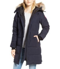 women's canada goose shelburne genuine coyote fur trim down parka, size x-large - blue