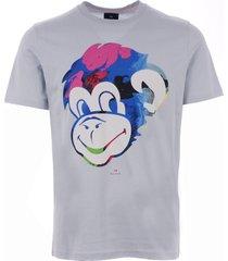 ps by paul smith monkey print t-shirt - light blue m2r-011r-ap1121