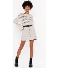 womens button my own linen mini skirt - ecru