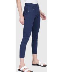 pantalón ash liso pillito azul - calce ajustado