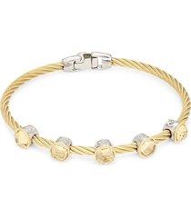 alor 18k white & yellow gold stainless steel & citrine bangle bracelet