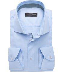 john miller heren overhemd licht met lichte accenten tailored fit blauw