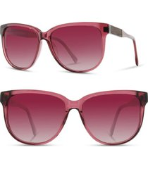 women's shwood 'mckenzie' 57mm polarized sunglasses - rose/ ebony/ rose fade