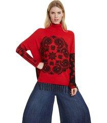 sweater desigual bicolor rojo/ negro - calce holgado