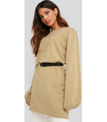 na-kd balloon sleeve knitted long sweater - beige