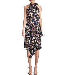 floral high-neck halter dress