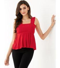 yoins red straps cuadrado con borde de lechuga cuello camiseta sin mangas con fruncido