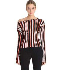 la maille striped wool knit top