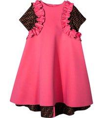 fendi fuchsia dress with logo texture