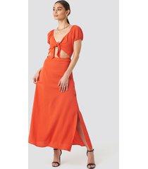 trendyol waist detailed maxi dress - orange