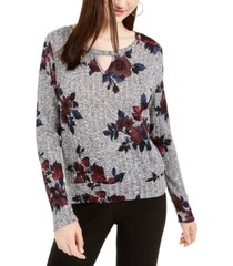 bcx juniors' floral-printed banded-hem top
