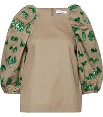 rodebjer ilia blouse lange mouwen bruin rodebjer