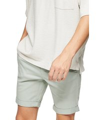 men's topman stretch skinny chino shorts, size 36 - green