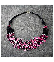 recycled glass and plastic beaded torsade necklace, 'fuchsia discs' (ghana)