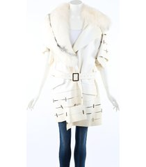 salvatore ferragamo white leather studded fox fur belted coat white sz: xs