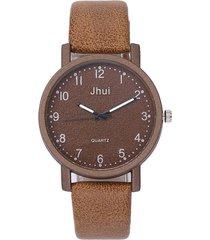 reloj pulsera mujer casual cuarzo correa cuero pu 1137 cafe