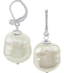 majorica pearl earrings, sterling silver baroque organic man-made pearl drop