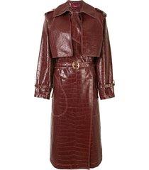 sies marjan embossed crocodile effect belted coat - brown