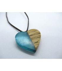 drewniany wisiorek serce dąb+błękit