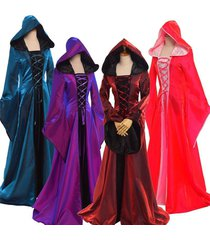 medieval halloween victorian ball gown lace up long sleeve hooded dress