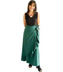 falda con boleros cruzada verde pino plica