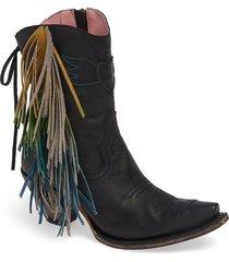 women's lane boots x junk gypsy fringe western bootie, size 11 m - black