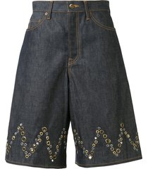 kolor a-line eyelet detail shorts - blue