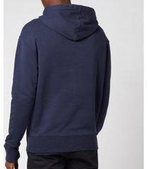 maison kitsuné men's grey fox patch classic hooded sweatshirt - navy - m