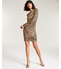 bar iii animal-print bodycon mini dress, created for macy's