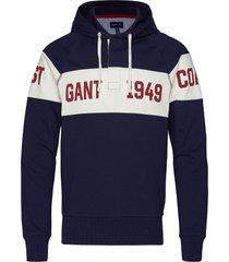 smu. gant chest stripe hoodie sweat-shirts & hoodies hoodies blauw gant