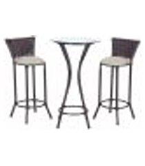 conjunto bistrô mesa alta e 2 banquetas moscou pedra ferro a12 para cozinha edicula bar varanda