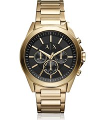 armani exchange designer men's watches, drexler black dial and gold tone stainless steel men's chronograph watch