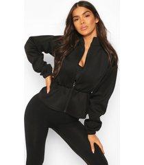 fit neoprene peplum sports jacket, black
