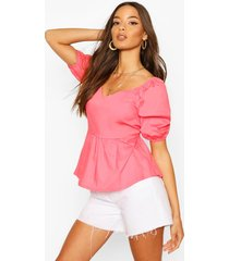 cotton v neck puff sleeve peplum top, coral