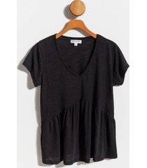 aidy tiered babydoll top - black