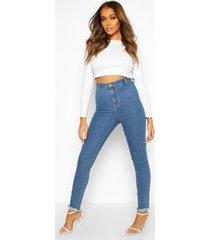 disco skinny jeans met gerafelde zoom en hoge taille, middenblauw