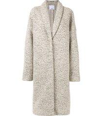 acler blair fleck knit midi coat - white