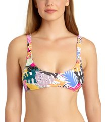 california waves juniors' printed bralette bikini top, available in d/dd, created for macy's women's swimsuit