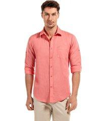 camisa lino naranjo new man