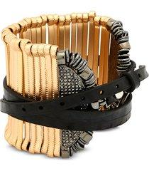 federica tosi designer bracelets, stick leather and metal bangle