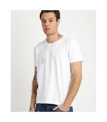 camiseta masculina básica com elastano manga curta gola careca branca