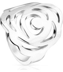 anillo rosa de abril de plata